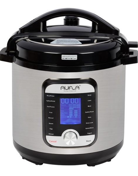 Aufla-Smart-Electric-Cooker-4L-Stainless-Steel-Inner-Pot-with-Triply-Base-2021-2-Front-View-with-LCD-ON